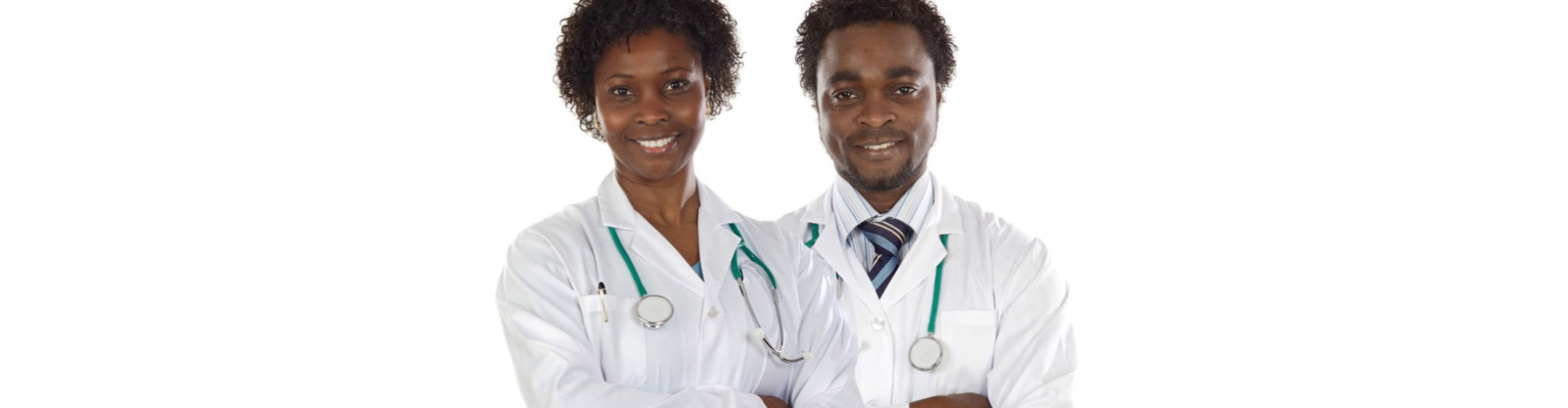 female and male doctor smiling